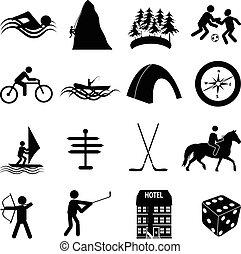 leisure sports icons set