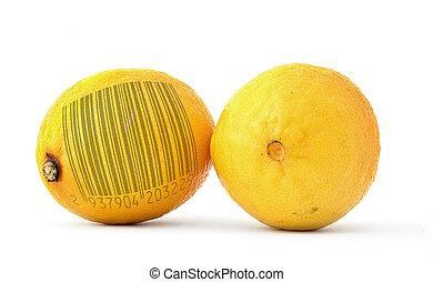 lemons with bar code