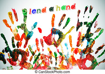 lend a hand written on a background full of handprints of different colors