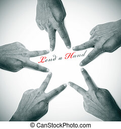lend a hand written on a white background with hands drawing a star