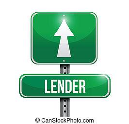 lender road sign illustration design over white