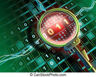 High-tech lens is scanning a stream of binary data. Digital illustration.