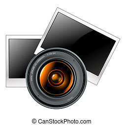 lens with photo frames, this illustration may be useful as designer work