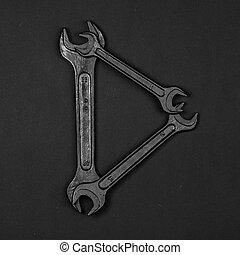 Letter D. Alphabet made of repair tools