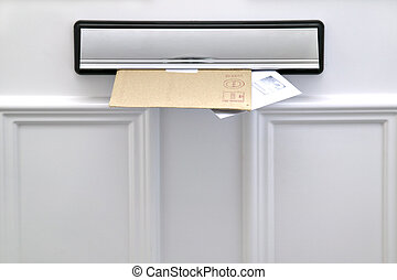 Two letters sticking out of a letterbox on a white door, space for copy