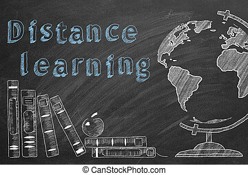 Lettering Distance learning, rotating globe and school books are drawn with chalk on a blackboard.