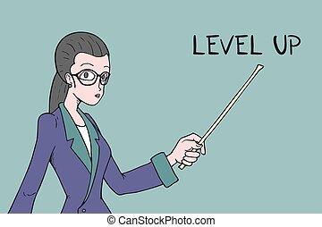 Level up teacher message hand draw