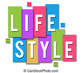 Lifestyle text in white over colourful background blocks.