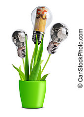 Light bulb with banknotes and coins on a plant in pot.