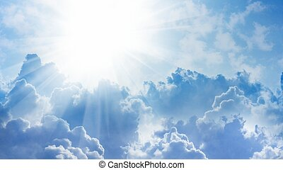 16x9 widescreen aspect ratio background - light from heaven. Sun and clouds.