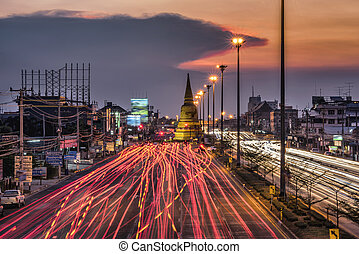 Light traffic on the road at night
