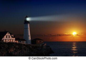 Portland headlight light house at dawn