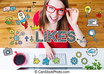 Likes concept with young woman