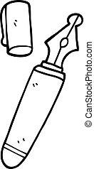line drawing cartoon fountain pen