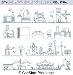 Line Vector Illustration Set. Industrial Buildings