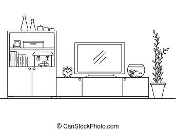 Linear interior with a closet, TV and aquarium. Vector illustration.