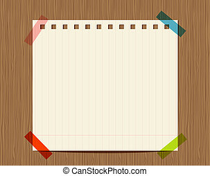 Lined paper of notebook on wooden wall, insert your text