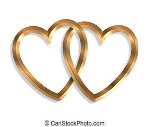 3D illustration 2 golden hearts linked together clip art symbol of love
