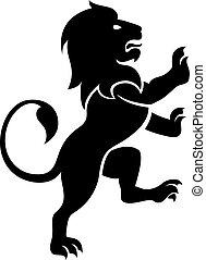 A stylised lion rampant, like the symbol for Leo