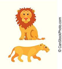 Lion and Lioness, Wildlife Animal, Leo Vector