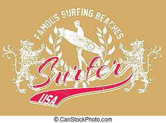 lion and surfer vector art