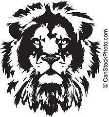 lion head black tattoo in my interpretation inspired from wild world