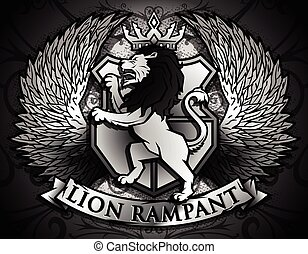 Lion Rampant similar to Coat of Arms Lion on background of Shield, crown and Angel Wings design.