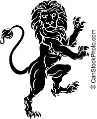 Lion Standing Rampant Heraldic Coat of Arms Crest