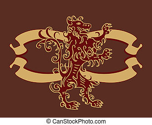 lion team shield vector art