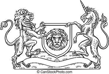 Lion Unicorn Heraldic Shield Crest Coat of Arms