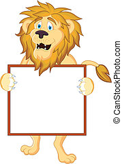 Lion with bank sign