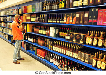 Liquor store selling alcohol and wine.