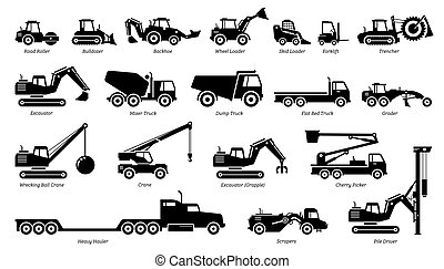 List of construction vehicles, tractors, and heavy machinery icons.