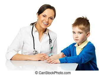 Little boy at paediatrician doing vaccination paediatrician