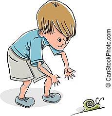 Little boy catching a snail, vector illustration.