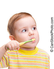Little child with dental toothbrush brushing teeth