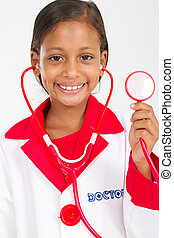 little doctor holding a stethoscope