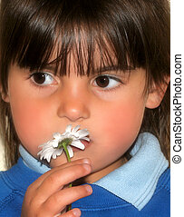 Little Girl and a Daisy
