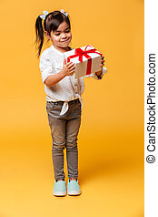 Little girl child standing isolated