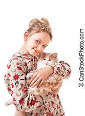 Little girl with a kitten.