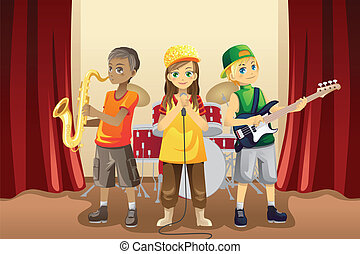 Little kids in music band