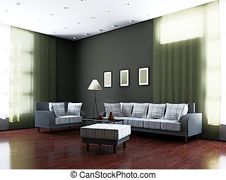 Livingroom with furniture and a lamp