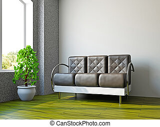 Livingroom with lsofa and a plant
