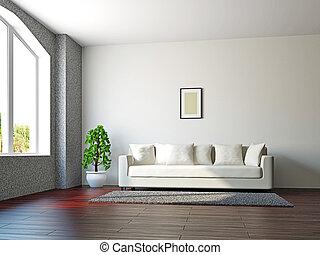 Livingroom with sofa and a plant
