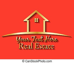 Logo gold house real estate vector