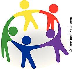 Logo group of team people in a hug
