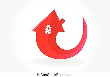 Logo house arrow symbol