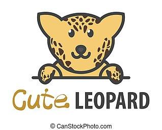 Logo template with cute curious jaguar. Vector logo design leopard template for zoo, veterinary clinics, etc. Cartoon animal logo illustration.