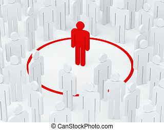Loneliness man surrounded red circle among crowd