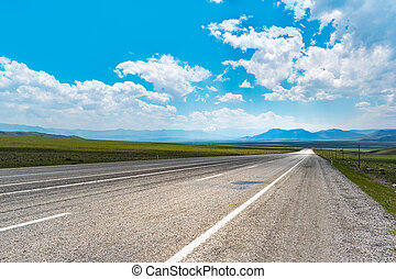 Long straight open road panorama